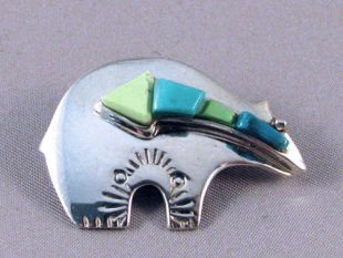 Native American Navajo Made Bear Pin with Spirit Line