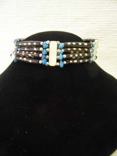 Native American Four-Row Black and Blue Choker