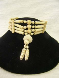 Native American Four-Row Antiqued Carved Choker with Center Piece