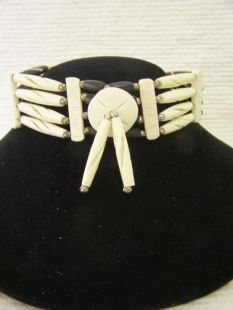 Native American Four-Row Black and White Choker with Center Piece