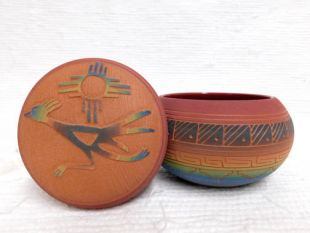 Native American Navajo Red Clay Small Round Jewelry Box with Roadrunner