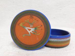 Native American Navajo Red Clay Medium Round Jewelry Box with Roadrunner