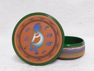 Native American Navajo Red Clay Medium Round Jewelry Box with Kokopelli