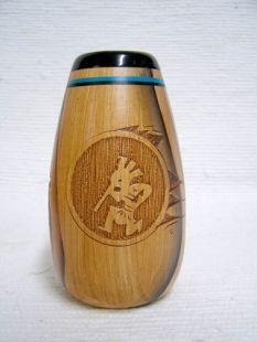 Native American Navajo Ceramic Woodgrain Bud Vase with Kokopelli
