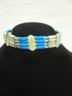 Native American Four-Row Abacus Choker with Turquoise