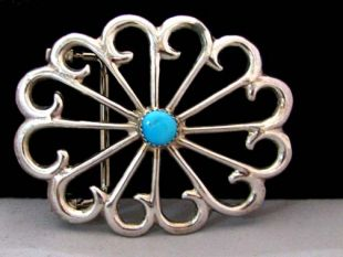 Native American Navajo Made Sand Cast Belt Buckle with Turquoise