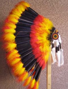 Native American Made Fireball Warbonnet