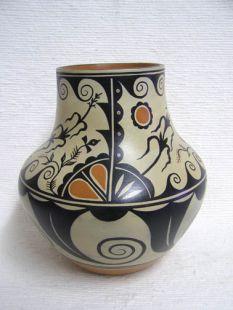 Native American Santo Domingo Handbuilt Polychrome Vase with Corn and Migration