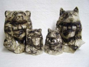 Native American Made Ceramic Horsehair Chief's Head with Wolf or Bear