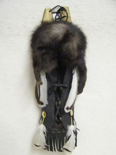 Native American Cherokee Made Silver-tipped Fox Cradleboard