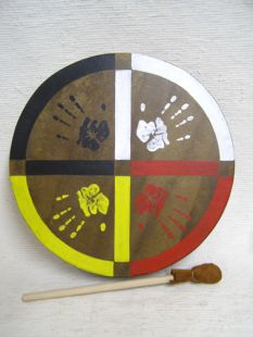 Native American Cherokee Made Painted Buffalo Drum