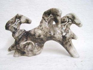 Native American Made Ceramic Horsehair Three Spirit Horses