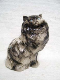 Native American Made Ceramic Horsehair Persian Cat