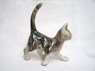 Native American Made Ceramic Horsehair Playful Cat