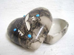 Native American Made Ceramic Horsehair Medium Heart Jewelry Box