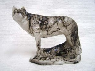 Native American Made Ceramic Horsehair Lone Wolf