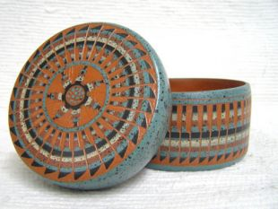 Native American Navajo Red Clay Medium Round Jewelry Box