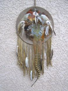 Native American Navajo Made Ceremonial Shield with Full Pheasant