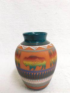 Native American Navajo Red Clay Pot with Buffalo
