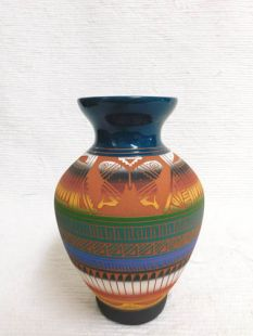 Native American Navajo Red Clay Vase with Butterfly