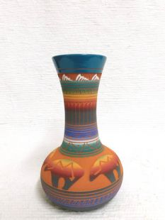 Native American Navajo Red Clay Vase with Bears