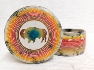 Native American Navajo Made Ceramic Fine Etched Horsehair Jewelry Box with Buffalo