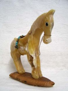 Native American Apache Carved Yellow Onyx Pony Sculpture