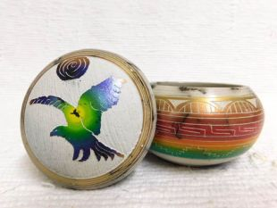 Native American Navajo Made Ceramic Fine Etched Horsehair Jewelry Box with Eagle
