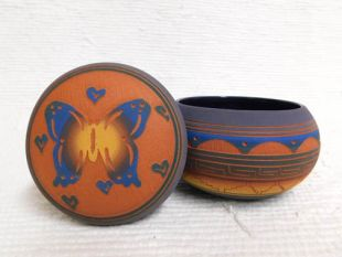 Native American Navajo Red Clay Small Round Jewelry Box with Butterfly