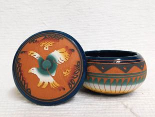 Native American Navajo Red Clay Small Round Jewelry Box with Eagle