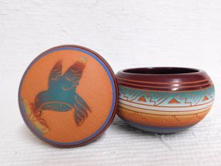 Native American Navajo Red Clay Small Round Jewelry Box with Hummingbird