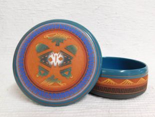 Native American Navajo Red Clay Medium Round Jewelry Box with Butterfly