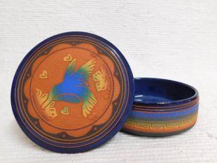 Native American Navajo Red Clay Medium Round Jewelry Box with Hummingbird