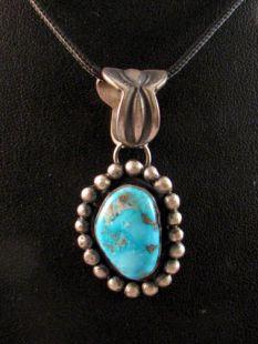 Native American Navajo Made Pendant with Kingman Turquoise