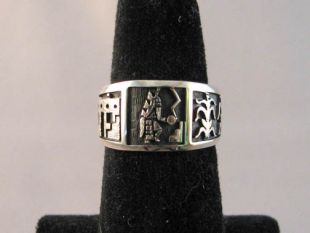 Native American Hopi Made Overlay Ring with Longhair, Corn and Pueblo