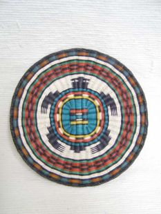 Native American Hopi Made Wicker Plaque with Turtle