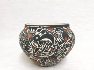 Acoma Handbuilt and Handpainted Pot with Insects
