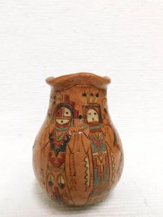 Native American Navajo Handbuilt Pitch Vase with Fluted Top
