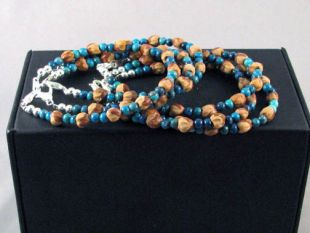 Native American Navajo Made Ghost Bead and Turquoise Bracelet