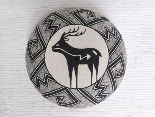 Native American Acoma Handbuilt and Handpainted Seed Pot with Deer