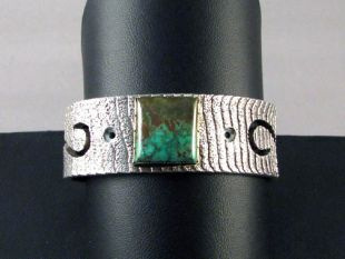 Native American Acoma Made Cuff Bracelet with Turquoise