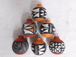 Native American Acoma Made Ceramic Christmas Ball Ornaments