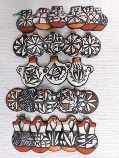 Native American Acoma Handbuilt and Handpainted Christmas Ornaments