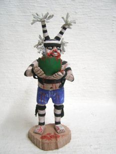 Native American Hopi Carved Clown Katsina Doll with Watermelon