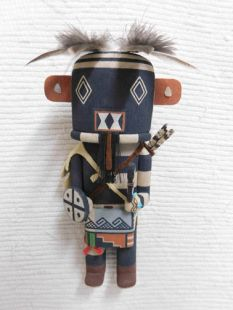 Old Style Hopi Carved Left Handed Traditional Hunter Katsina Doll