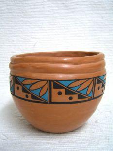 Native American Acoma Handbuilt and Handpainted Bean Bowl