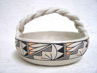 Native American Acoma Handbuilt and Handpainted Basket Bowl