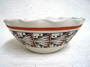 Native American Acoma Handbuilt and Handpainted Bowl with Fluted Edge