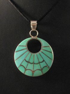 Vintage Native American Zuni Made Pendant with Turquoise