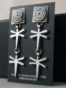 Native American Zuni/Navajo Made Earrings with Dragonfly